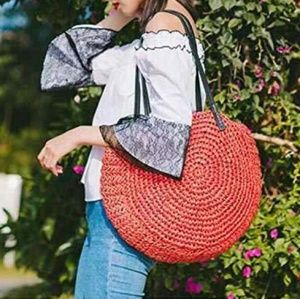 Handbags - Straw hobo handbag tote rattan women red bag